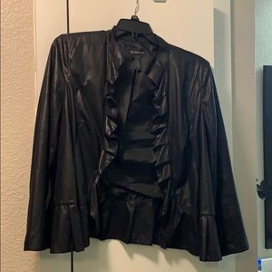 INC Black Ruffled Blazer - Size 0X